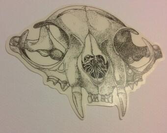 Cat skull sticker