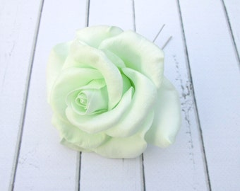 White Garden Rose Hair white rose hairpin flowers hair pin accessories rose hair