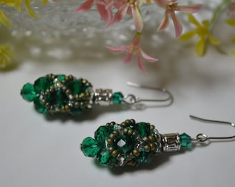 Emerald earrings, Emerald jewelry , Emerald Swarovski drop earrings, Fancy earrings, crystal earrings, Bridesmaid earrings, Gift for her