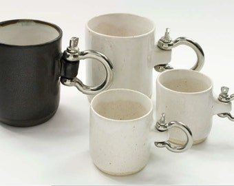 Grillo Mug / Grillo Coffee mug or coffee cup stoneware 1260 and stainless handle white and black