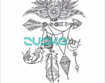 Native Jewels.  | Instant download | Adult coloring book | Printable | Boho coloring page | Hippie coloring page | Native american