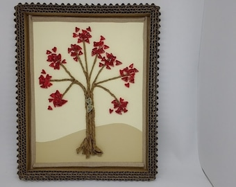 "Quilled ""Sweetheart Tree"" Wall Art with Hand Made Kraft Paper Frame ready for Gift Giving or Hanging.."