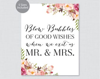 Printable Wedding Bubbles Sign - Pink Floral Bubbles Sign - Rustic Pink Flower Wedding Bubbles Sign/Poster 8x10, 11x14, 16x20, 18x24, 0004