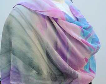 Hand painted long silk scarf, silk shawl, purple-pink scarf, gray-blue scarf, unique, one-of-a-kind