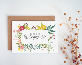 Will you be my bridesmaid card, Printable bridesmaid card, Floral wedding cards, Printable wedding cards, Summer Wedding Set
