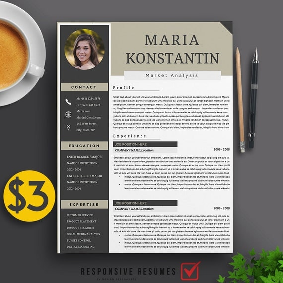 Professional 3 Page Resume Template / CV Cover Letter A4 & US