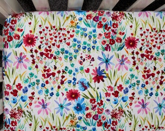 Watercolor Wildflower Crib Bedding. Baby Bedding. Wildflower Nursery