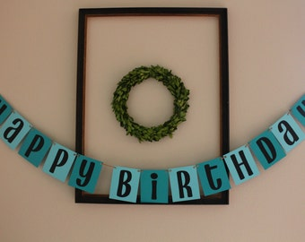 Happy Birthday Banner / Aqua/Teal & Black / Hanging Banner / Party Decor / Birthday Decorations / Boys Birthday