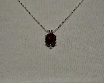 Garnet Gemstone Solid Sterling Silver Necklace