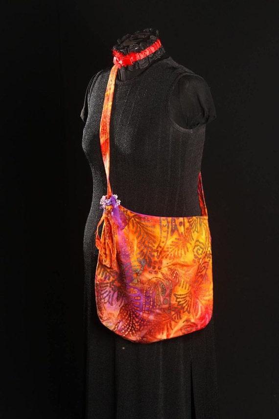 Hippy Sack - Orange and Purple with Frayed Tassel