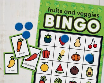 BINGO game of fruit and veggie names for kids - Print, cut and play - Printable and instant download BINGO card game for kids