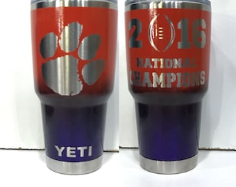 Custom Powder Coated 30 20 12 10 18 36 64 oz YETI Rambler/Tumbler/Cup/Bottle Clemson Tigers  2016 National Champions Personalize Add Name