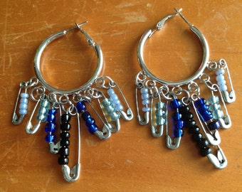 Silver Dangle Hoop Earrings