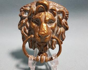 Vintage Brass Lion Head Door Knocker from Europe, Heavy Patina