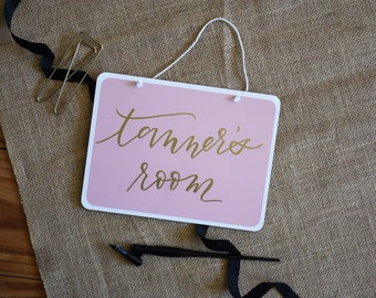 Custom Small Hand Lettered Sign. Pink or Grey. Embossed. 8x6