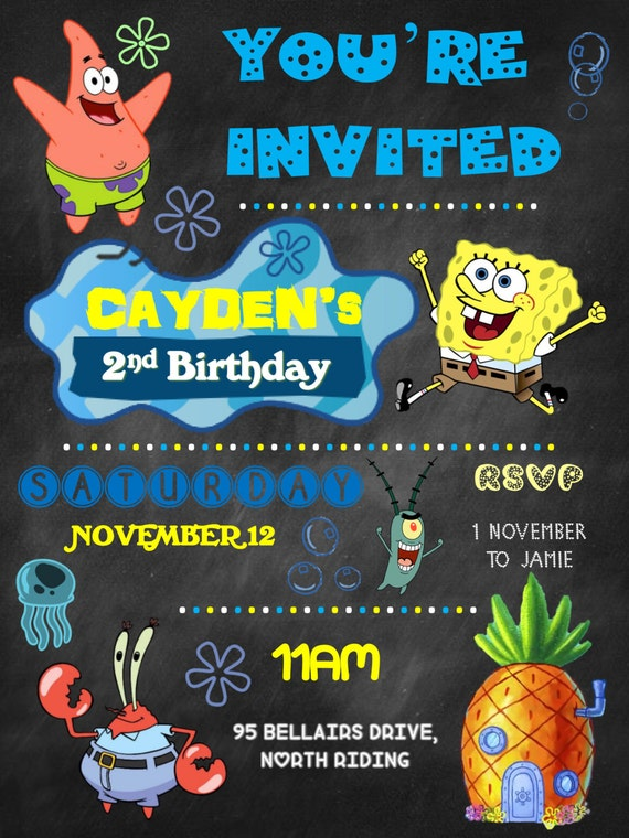 Spongebob, Birthday invite, birthday invitation, baby's first birthday, first birthday chalkboard,personalized,digital file, birthday invite