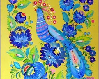 painting MORNING SONG deko Petrykivka style interior design