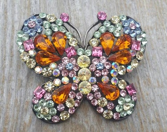 Rainbow Rhinestone Butterfly Brooch