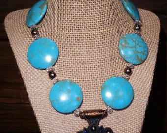 Turquoise Necklace with Bucking Horse Concho