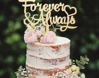 Wooden Cake Topper Forever and Always Cake Topper Custom Cake Topper Wedding Cake Topper Cake Decoration Cake Topper Golden Cake Topper