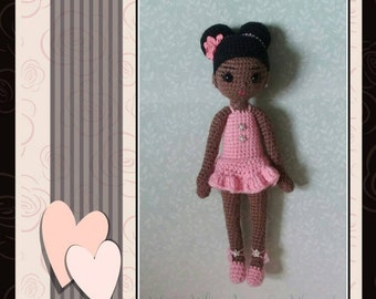 "Handmade 12.5"" African American/Ethnic/Amigurumi Crochet Ballerina Black Doll"