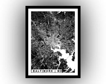 City of Baltimore | wall art | map art | poster | high resolution digital map | Baltimore | Maryland |printable map