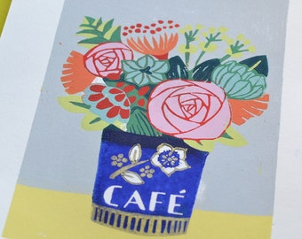 "Linocut in reduction ""Café de flore"""