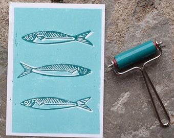 Linocut - Sardines