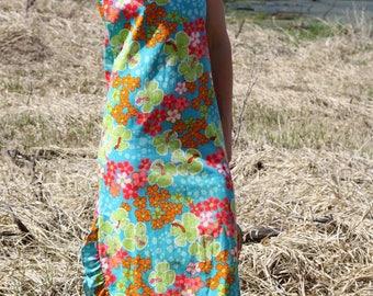 Vintage Ruffle Midi Sleeveless Floral YOUNG HAWAII Boho 70's Hawaiian Sun Dress X-Small
