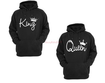 King Queen Hoodie King Queen Sweatshirt King Hoodie Queen Hoodie Couple Hoodie Couple Sweatshirt Couple Sweater Couple Hooded Gift ForCouple