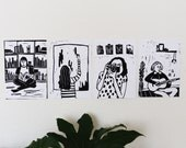 Girls and Their Favourite Things • Postcard Set (A6) Blockprint