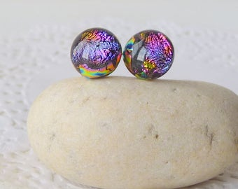Multicolor Dichroic Glass Stud Earrings Vintage  Small Retro Fused Glass Posts Glass Jewelry Gold Tone 70's  Costume Fused Glass Jewelry