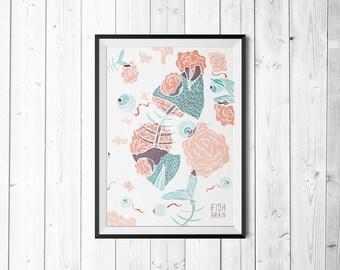 Fish Brain - Poster - Poster - Print - A3