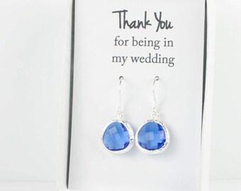Sapphire Blue Silver Earrings, Silver Sapphire Earrings, Blue Silver Earrings, Bridesmaid Gift, Bridesmaid Earrings, Blue Wedding Jewelry