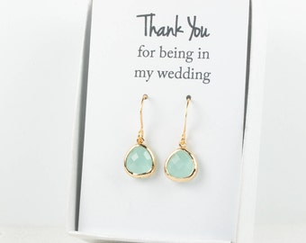 Tiny Mint Gold Earrings, Gold Green Earrings, Mint Wedding Jewelry, Bridesmaid Gift, Bridesmaid Earrings, Green Bridal Accessories
