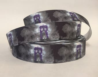 "1/3/5/10 Yards - 1"" Dr. Who TARDIS Grosgrain Ribbon DIY Nostalgic Sci Fi"