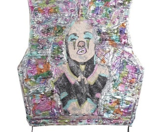 Studded Patchwork Madonna Clown Vest