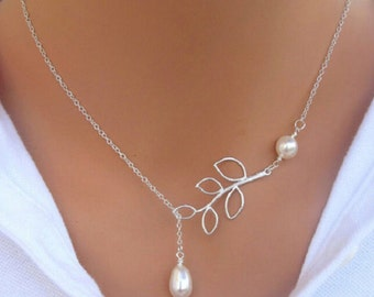 Leaf Pearl Necklace Silver Plated   Pearl Y Necklace   Pearl Necklace   Pearl Drop Necklace   Long Pearl Necklace   Branch Necklace