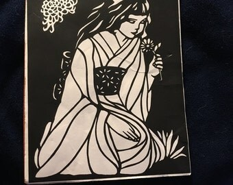 Geisha Girl in Kimono with Flower Rubber Stamp