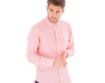 Mens Pink Salmon 100% Linen Long Sleeve Slim Fit Shirt