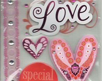 Love Valentine La Petites 3D Scrapbook Stickers Embellishments Cardmaking Crafts