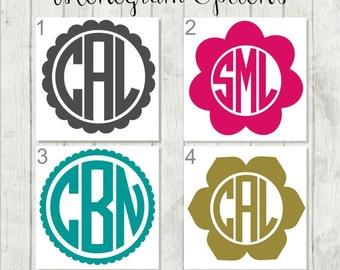 Flower Monogram Decal, Monogram Decal, Flower Decal, Tumbler Decal
