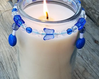 Decorative Candle Accessory/ Candle Bling/ Candle Ring/ Home Decor/ Blue/ Butterfly