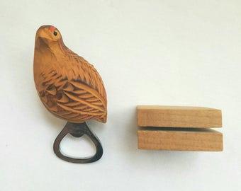 Sweet Tweet! Carved Wood Bird  Bottle Opener