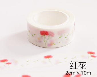 Red Forest Japanese Washi Tape, Masking Tape, Planner Stickers,Crafting Supplies,Scraping Booking,Adhesive Tape,Floral Washi Tape