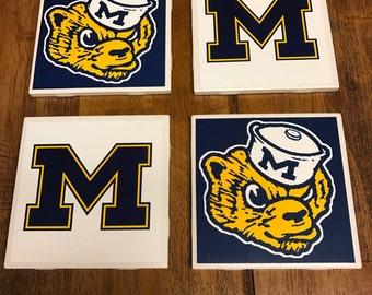 Handmade Michigan Wolverines Coasters