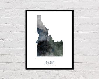 Idaho Map Print, Printable Idaho State Map, Idaho Art Print, Idaho Printable Wall Art, Watercolor Map, Idaho Poster, Digital Download