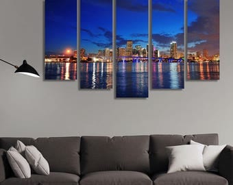 LARGE XL Miami City Skyline at Night Canvas Print American City Panoramic View at Dusk Canvas Wall Art Print Home Decoration - Stretched