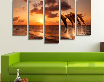 LARGE XL Dolphins Jumping Over the Sea Waves Canvas Print Beautiful Sunset Canvas Open Ocean Wall Art Print Home Decoration - Stretched