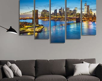 LARGE XL Manhattan, New York City Skyline Canvas Wall Art Print Home Decoration - Framed and Stretched - 1120